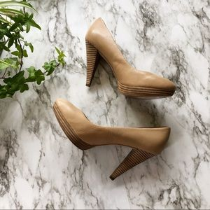 Banana Republic Nude Kate Wooden High Heels - 7.5
